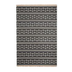 With a distinctive style, a gorgeous area rug from India will add some splendor to any decor. This Kilim flat weave area rug is hand-woven with a geometric pattern in shades of gray, ivory, and black.