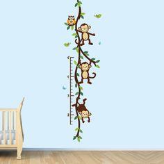 Monkey Wall Decal Growth Chart, Swinging Monkeys on Vines, Nursery Wall Decal…