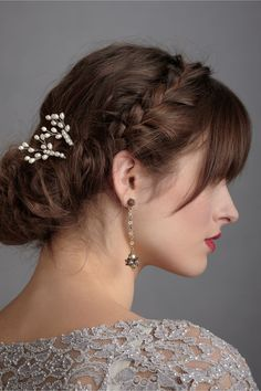 Pussy Willow Hairpins (2) in Bride Veils & Headpieces at BHLDN Idea of a plait with a fringe