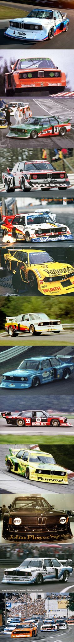 1977 BMW 320i Turbo Group 5 liveries / Motorsport / Jägermeister / Gösser Beer / Würth / Rodenstock (2x) / Coors / Fruit of the Loom / Kraus Hifi / Rummel / JPS / Sachs