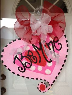 Door hanger Valentine Heart Be Mine by SerendipityDoorFun on Etsy, $40.00