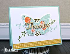 Get Crafty with Lisa:  Floral Wings Thank You.  This thank you card features Stampin' Up!'s Floral Wings Stamp Set and Bold Butterflies Framelits Dies, by Lisa Rhine, www.getcraftywithlisa.com