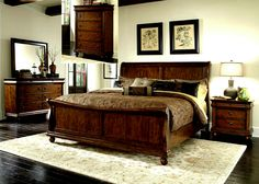 North Woods Bedroom Collection.  • Rustic Cherry and some light distressing. • Classic Louis Philippe Styling. • Chambered Pilasters with bun feet. • Antique Brass Drop Ring and Key Hardware. • Sleigh Headboard Rolls Back. • Rolled Cap Rail on Foot-board. • Felt Lined Top Drawers. Click On Picture For More Collections.