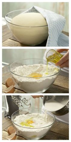 """Yeast dough- The yeast dough is rolled out to the """"base"""" for fruit, flaked almonds, crumble, quark & Co: yeast dough (basic recipe) No Yeast Pizza Dough, My Favorite Food, Favorite Recipes, Swiss Recipes, Cheesecake, Diy Food, No Bake Cake, Pizza Recipes, Sweet Tooth"""