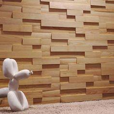 Adhesive insert in natural planed Izalco pine - bathtub Wood Wall Tiles, Wood Mosaic, Wood Panel Walls, Mosaic Wall, Wood Paneling, Cafe Interior Design, Interior Walls, Dalle Adhesive, Panneau Mural 3d