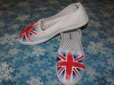 Handpainted Union Jack US Size 8 UK Size 65 Doctor by CLouiseJohnR, $30.00