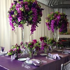 Flowerbazar на семинаре The Chaple Designers, NYC. Purple Wedding Decorations, Quinceanera Decorations, Wedding Table Centerpieces, Floral Centerpieces, Centrepieces, Royal Purple Wedding, Purple Wedding Flowers, Floral Wedding, Wedding Bouquets