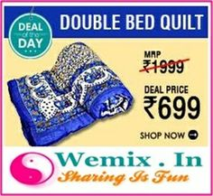 Cotton White Blue Elephant Design Double Bed Jaipuri Quilt Rs. 699