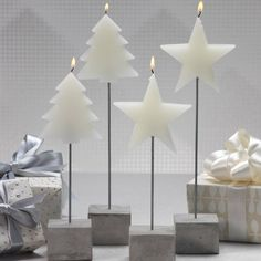 Tree and Star Candle on Stick - Set of 4 - Short / Star - CARLYLE AVENUE - 2