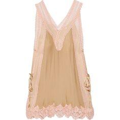Chloé Lace-paneled plissé-silk mini dress (19.495.855 IDR) ❤ liked on Polyvore featuring dresses, ecru, slimming slip, tie dress, pastel dress, silk dress and slimming dresses