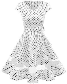 25610089c9 Gardenwed Womens V-Neck Audrey Hepburn Vintage Cocktail Dress Cap Sleeve  Retro Rockabilly Swing Party Dress White Small Black Dot XL