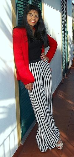 red + black and white stripes