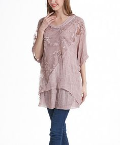 Look what I found on #zulily! Pink Floral Lace Layered Dolman Tunic #zulilyfinds