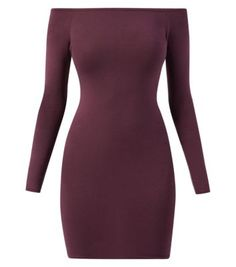 Purple Long Sleeve Bardot Neck Bodycon Dress