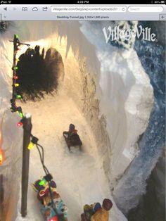 Need sledding hill Cowboy Christmas, Christmas Town, Christmas Villages, All Things Christmas, Christmas Holidays, Christmas Crafts, Christmas Decorations, Diy Christmas Village Platform, Christmas Village Display