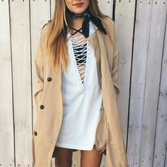 LF Lace Up top I have a medium and a large (: you wear them oversized for the dress-look. I'd suggest shorts underneath regardless xD LF Tops