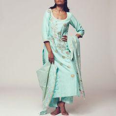 Set of Blue Floral Block Print Chanderi Kurta with Maheshwari Dupatta & Poly Cotton Bottoms Kurta Designs Women, Shirt Dress, Suits, Floral, Clothing, Cotton, Blue, Dresses, Fashion