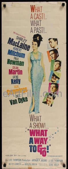 Happy Birthday #ShirleyMacLaine https://eartfilm.com/search?q=shirley+maclaine #actors #acting #dancers #dancing #singers #TheTurningPoint #TermsofEndearment #film #movies #cinema #posters #movieposters    What A Way To Go 1964 14x36 Insert poster United States
