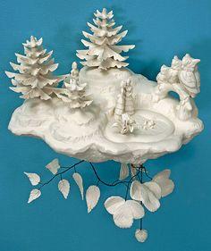 3D wallpaper installation | cast porcelain kitsch | Beth Katleman