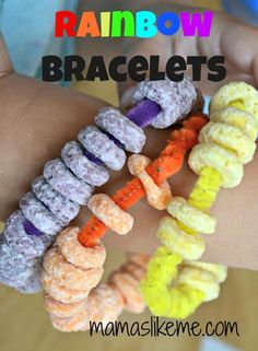 Mamas Like Me: Rainbow Bracelets for #Preschool  This would be fun to make on a movie day in the classroom