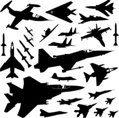 Collection of American Aircraft Fighters Flying Interceptor Jet Airplane Phantom Strike Sky Battle Plane Silhouette, Silhouette Clip Art, Body Art Tattoos, Small Tattoos, Los Mejores Tattoos, Airplane Tattoos, Airplane Nursery, Room Stickers, Star Wars Birthday