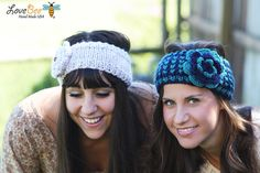 Headband - Large flower, Turquoise , Navy Blue , Knitted , Knit ,infinity, Button, Wide Headband, Turban, Christmas Gift Ask a Question    $26.00 USD