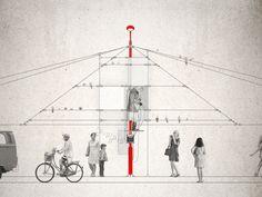 Señala encima de la imagen para verla más grande - Alzado de Excrescent Utopia. Cortesía de Milo Ayden De Luca.