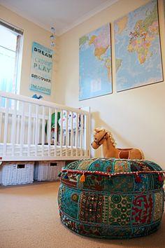 vintage boy nursery | Rustic Vintage DIY Boy Nursery - Project Nursery-- Love the maps!