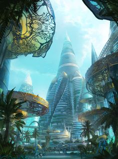 """Atomhawk Solarpunk challenge - Nova Nakhon Sawang - by Leon Tukker """"Here is my challenge submission for the atomhawk solarpunk challenge. Based on my holiday in Thailand I decided to create a modern. Cyberpunk City, Cyberpunk Kunst, Sci Fi Kunst, Futuristic City, Futuristic Architecture, Chinese Architecture, Architecture Office, Fantasy City, Fantasy Places"""