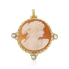 Romantic Italian cameo silhouette in carved shell framed with 3mm cultured freshwater pearls. >>Click on the Cameo Jewelry to see more styles like this at Ross-Simons.