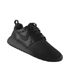 """I designed this at NIKEiD Nike Roshe Run iD Size Women's 9 or Men's 7 Everything is black Middle Panel is Croc skin """"ARI DUF"""" is embroidered on the backs"""