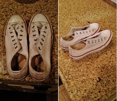 Cleaning white Converse with laundry detergent and baking soda.