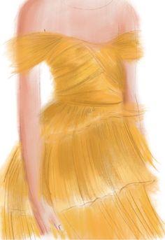 #drawing #dress #color #yellow #artwork #sketch #illustration #fashion #design #graphic #beauty #fashionillustration