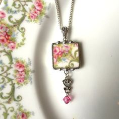 Broken china jewelry pendant necklace pink roses with Swarovski crystal drop made from a broken plate