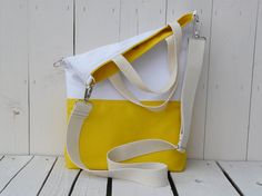 vegan canvas tote bag summer yellow and white shoulder bag