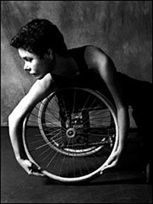 Dancer using wheel chair as part of the dance. Since 1987, AXIS Dance Company has created an exciting body of work developed by dancers with and without disabilities. They are in the forefront of paving the way for a powerful and inclusive dance form, physically integrated dance.