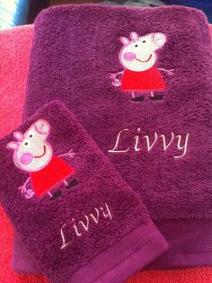 Embroidered towel with Peppa Pig design - Cartoon embroidery - Gallery - Machine embroidery forum