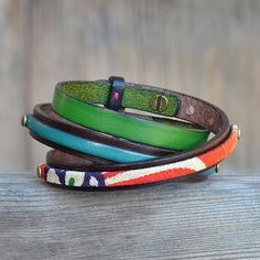 Japanese Kimono and leather bracelet. Made in Japan. Set of 3