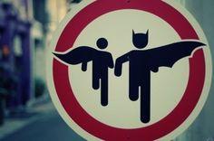 Batman and Robin road sign.