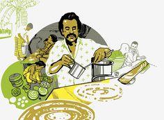 Bombay Duck Designs: Studio of Indian illustrator and visual artist, Sameer Kulavoor. Indian Illustration, Digital Illustration, Food Poster Design, Food Design, Indian Folk Art, Indian Prints, India Art, Figure Drawing Reference, Logo Restaurant