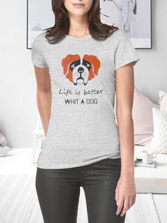 T-shirt ręcznie malowany z psem rasy bernardyn z napisem jaki tylko chesz.