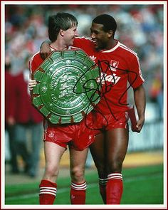 Signed Liverpool FC Photo - John Barnes with Ronnie Whelan Charity Shield