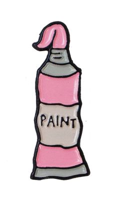 Pink paint enamel pin.