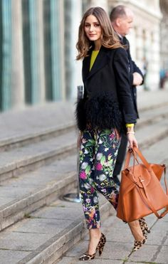 OP is always on trend...a citrus yellow top, floral pants AND leopard print heels!