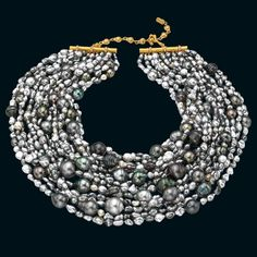 Mermaid necklace with Tahitian keshi and cultured baroque pearls with an 18-carat gold and diamond adjustable clasp by Mish New York ... I LOVE Tahitian Pearls !!!!