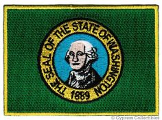 Washington State Flag Embroidered Patch Iron-On WA Emblem: This brand new embroidered patch depicts the state flag of Washington. Heat-seal backing allows buyer to iron this patch onto virtually any fabric. Flag Patches, Biker Patches, Iron On Patches, Washington State Flag, Colorado State Flag, American Flag Patch, Flags For Sale, Mexico Flag, Merit Badge