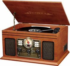 Victrola - 6-in-1 Bluetooth Entertainment Center - Mahogany - Front Zoom-Employees Christmas 2016!!!
