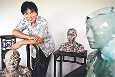 The artist Ah Xian and some examples of his work.