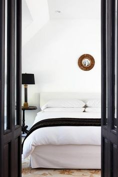 white + black bedroom