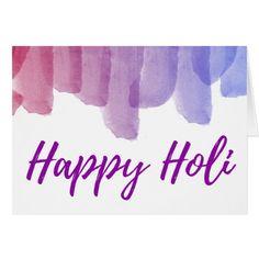 Modern Watercolors Playful Script Happy Holi Card #Happy #Holi #greeting #Card